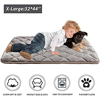 Furrybaby Dog Bed Mat Crate Mat with Anti-Slip Bottom Machine Washable Pet Mattress for Dog Sleeping (XL 44x32'', Sliver Grey Mat)