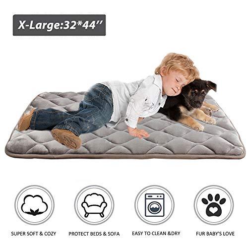 (Furrybaby Dog Bed Mat Crate Mat with Anti-Slip Bottom Machine Washable Pet Mattress for Dog Sleeping (XL 44x32'', Sliver Grey)