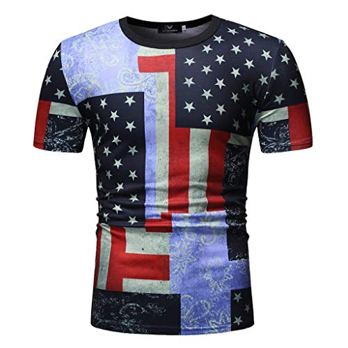 (Men Athletic Fit T-Shirt,Toponly Youth Boys Casual Short Sleeve Tees American Flag Print Patriotic O Neck Tops Sports Pullovers)