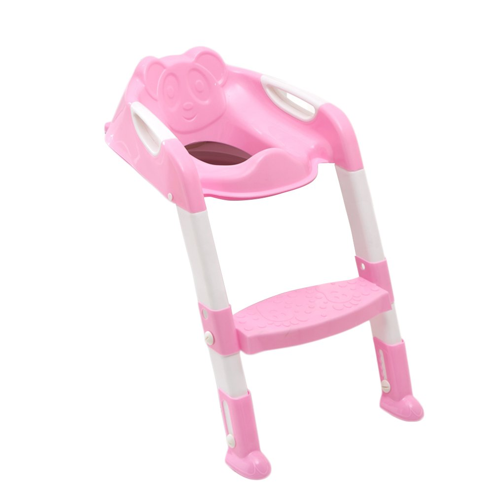 Kitechildhrrd Toilettensitz Kinder WC Toilette Training mit Leiter/Treppe Toilettentrainer Kindertoilette Töpfchen Trainer Sitz Rutschfest Stabil Klappbar Höhenverstellbar für 1-7 jährige Kids (Rosa)