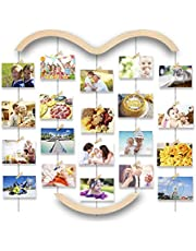 Uping Cornice Portafoto Multiple da Parete, Cornice Foto Collage con 5 Corde e 30 Clip(64CM* 74CM)