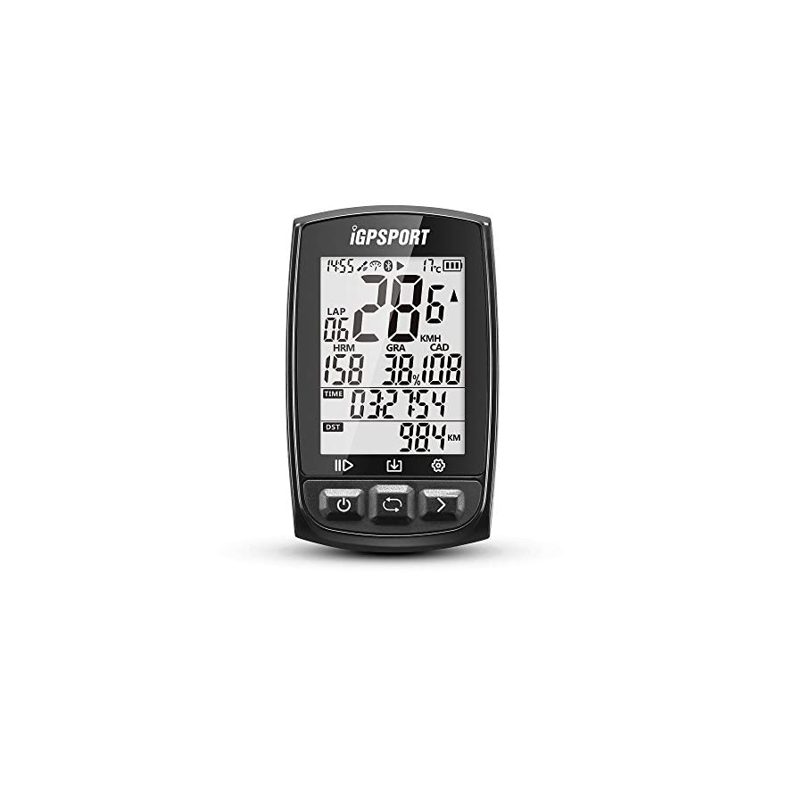 GPS Bike Computer Big Screen with ANT+ Function iGPSPORT iGS50E Cycle Computer Support Heart Rate Monitor and Speed Cadence Sensor Connection Black