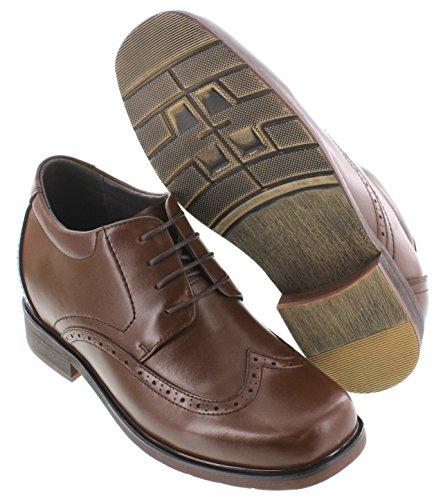Calto T52710-3.3 Inches Taller - Height Increasing Elevator Shoes - Bruine Leren Veterschoenen