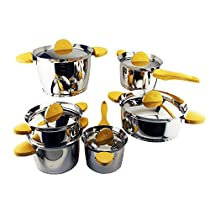 Berghoff Stacca 11-Piece Cookware Set, Yellow