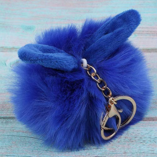 (NATFUR Rabbit Plush Key Chain Cute Rex Rabbit Animal Fur Doll Plush Toy Kids Gifts Novelty Key-Chain for Women for Men Holder Perfect Elegant Pretty | Color - Sapphire)