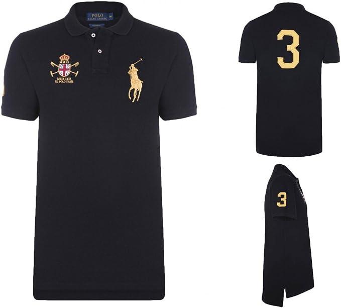 Ralph Lauren Polo Camiseta Big Pony Mercer, color: Black/Gold ...