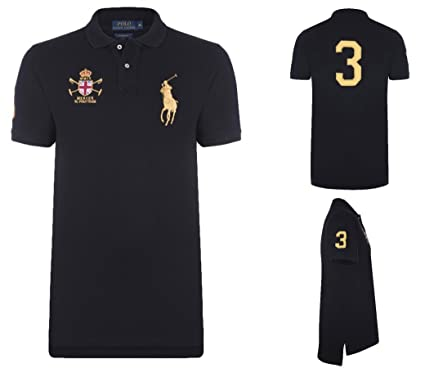 4a14a825 Ralph Lauren Polo Shirt Big Pony Mercer, Color: Black/Gold; Size: M ...