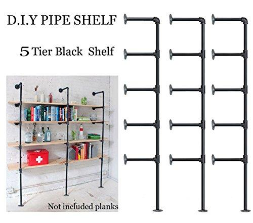 FOF Industrial Retro Wall Mount Iron Pipe Shelf,DIY Open Bookshelf,Hung Bracket,Home Improvement Kitchen Shelves,Tool Utility Shelves, Office Shelves,Ceiling Mount Shelf Shelves (3Pcs)