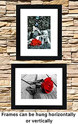 """8x10 Picture Frame Black (2-pack) With GLASS FRONT COVER - Displays an 5x7"""" Picture With Mat or an 8x10"""" Photo WIthout Mat - Vertical or Horizontal Mounts & Easy To Hang - No Hardware to Install."""