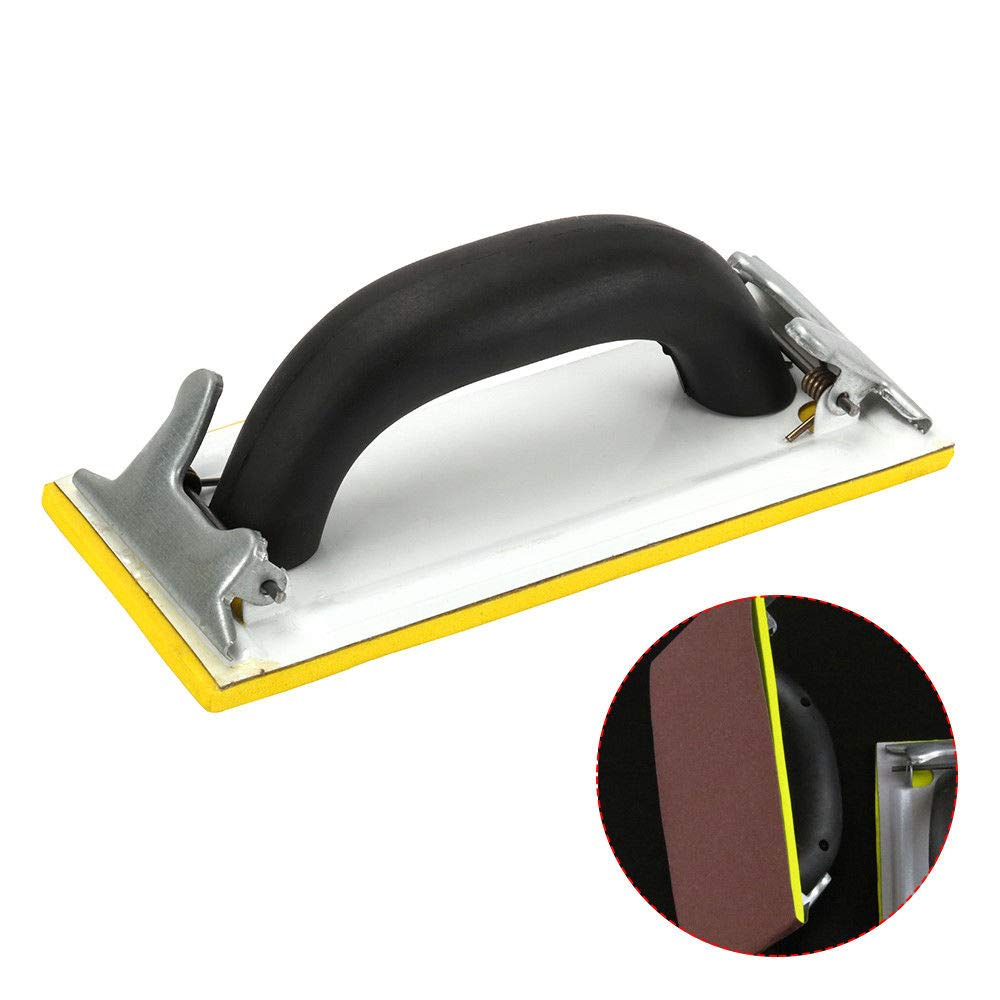 190x90mm Belt Sander Handheld Sandpaper Rubber Handle Sand Paper Cloth Racks Grinder Clip with Yellow Sponge Bottom Polishing Pad