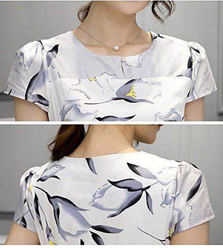Olrain Womens Vintage Floral Printed Cap Sleeve Tea Dress with Belt 12 White
