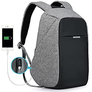 Oscaurt Waterproof Resistant Business Backpack Slim Day Bag Safe Travel Bag with USB Charging Port for Men & Women
