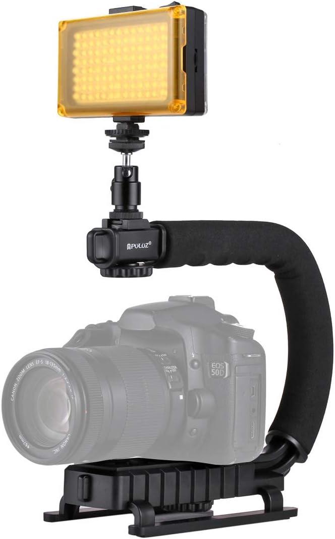 QGTSA PULUZ U/C Shape Portable Handheld DV Bracket Stabilizer + LED Studio Light Kit with Cold Shoe Tripod Head for All SLR Cameras and Home DV Camera