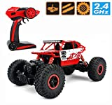 remote control brushless motor - 2.4Ghz 1/18 RC Rock Crawler Vehicle Buggy Car 4 WD Shaft Drive High Speed Remote Control Monster Off Road Truck RTR (Red)
