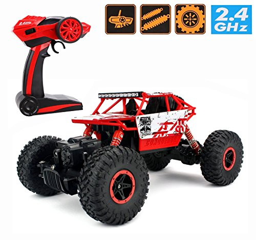 2.4Ghz 1/18 RC Rock Crawler Vehicle Buggy Car 4 WD Shaft Drive High Speed Remote Control Monster Off Road Truck RTR (Red)