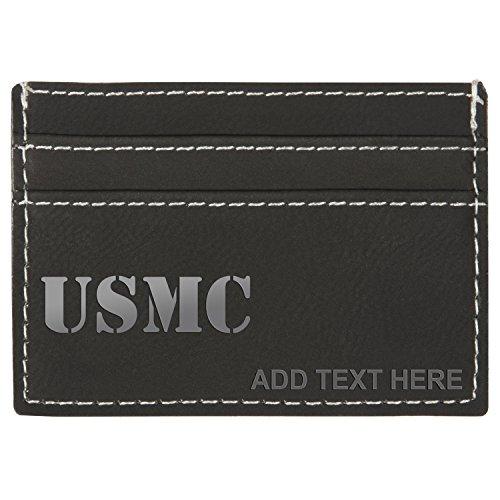 Personalized Engraved USMC Marine Corps Leatherette Moneyclip Wallet, Bk & Slver
