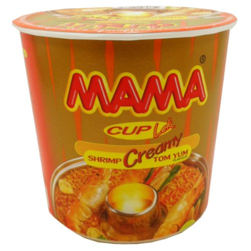 Mama Instant Cup Noodles Creamy Tom Yum Kung Flavor Thai Original Spicy Net Wt 42 G (1.48 Oz) X 6 Cup