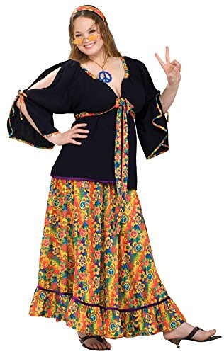 UHC Adult 60's 70's Groovy Mama Hippie Woodstock Flower Womens Halloween Costume, Plus (18-22)