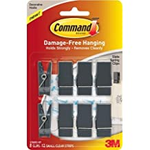 3M Command Brand Damage-Free Hanging Spring Clips - Slate - 8 Clips Per Pack