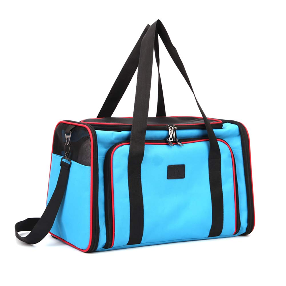 bluee DJLOOKK Pet Carrier,Large Soft Sided Airline Approved for Travel,for Cat and Dog,Top Loading,Foldable for Storage