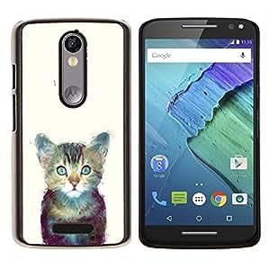 Stuss Case / Funda Carcasa protectora - Gatito Espacio lindo gato Pintura Furry - Motorola Moto X3 3rd Generation