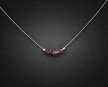 JP_Beads Raw Ruby Jewelry Dainty Necklace July Birthstone
