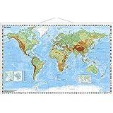 Weltkarte physisch - Wandkarte mit Metallbeleistung
