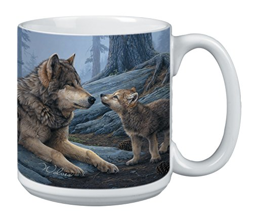 Price comparison product image Wolf Brothers Extra Large Mug - 20-Ounce Jumbo Ceramic Coffee Cup, Wolf Themed Wildlife Art - Gift for Coffee Lovers (XM29914) Tree-Free Greetings