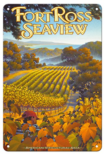 Pacifica Island Art 8in x 12in Tin Sign - Fort Ross - Seaview Wineries - Sonoma Coast by Kerne Erickson