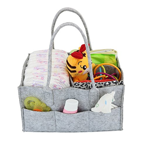 PFFY Diaper Caddy Organizer Baby Shower Basket Portable Nursery Storage Bin Car Organizer Toy Gift for Women Tote Bag Grey