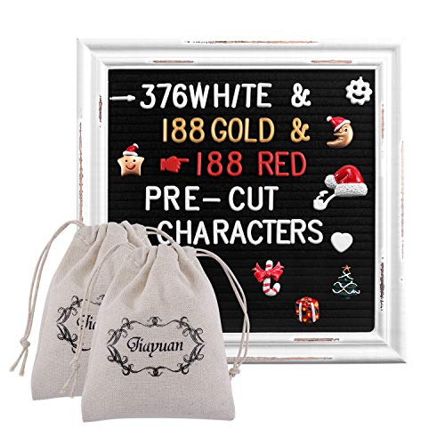 Black Felt Letter Board with Rustic White Wood Farmhouse Vintage Frame and Stand by 10x10 Inch Antique Changeable Message Board 752 White & Gold & Red PreCut Letters ()