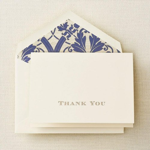 Crane & Co. Gold Hand Engraved Regency Thank You Note with Blue Lined Envelopes- Pack of 20 Cards by Crane & Co.