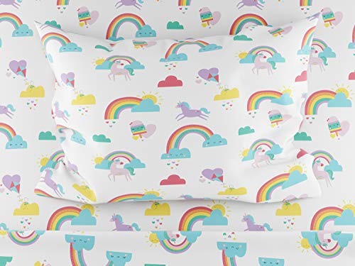 Where The Polka Dots Roam Full Size Bed Sheets Rainbows and Unicorn 4 Piece Set │ Blue and White, Unisex, Flexible Microfiber, Durable, Wrinkle-Resistant Bedding │ Boys, Girls, Baby, Kids, Toddler