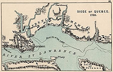 Small Map Of Canada.Seven Years War Siege Of Quebec 1759 Plains Of Abraham Small