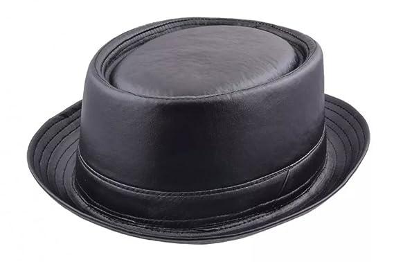 e2599d44560 MAZ Faux Leather Look Pork Pie Hat - Black  Amazon.co.uk  Clothing
