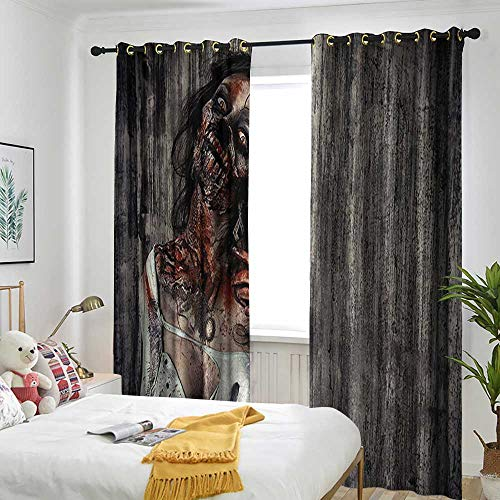 Blackout Curtains for Bedroom Black Grommet Curtain - 2 Sets of Panels Zombie,Angry Dead Woman Sacrifice Fantasy Design Mystic Night Halloween Image,Dark Taupe Peach Red -
