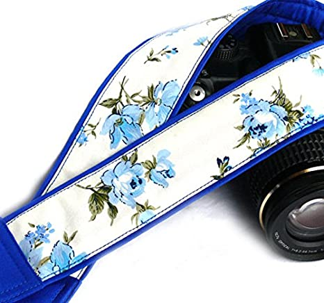 Azul flores cámara Correa para cámara réflex digital o cámara ...