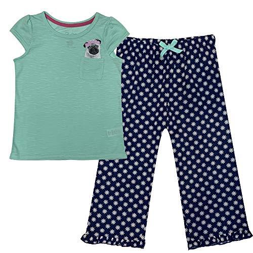 Popular Girl's Short Sleeve and Crop Pant Pajama Sleepwear Set - Pug - 10/12