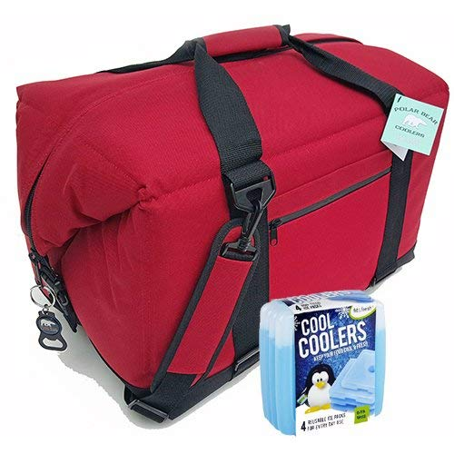 Polar Bear Coolers Nylon Series Soft Cooler Tote Size 48 Pack Red & Fit & Fresh Cool Coolers Slim Ice 4-Pack (Bundle)