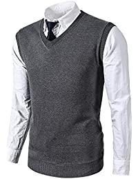 Mens Various Color Casual Slim Fit Knit Vest Sweater