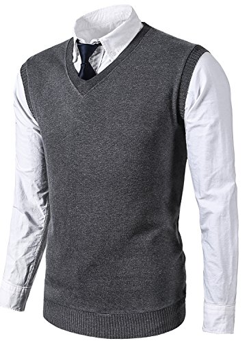 MIEDEON Mens Various Color Casual Slim Fit Knit Vest Sweater (L, Grey) by MIEDEON