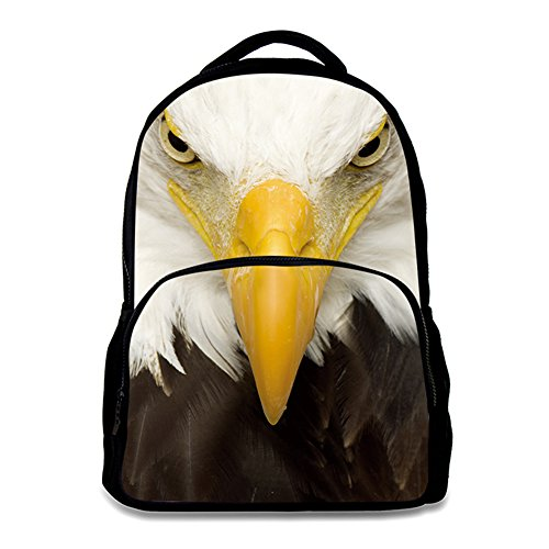 16'h Eagle (Animal School Bag Children's Age6-16 Polyester 17 Inch Laptop Backpack (Bald eagle))