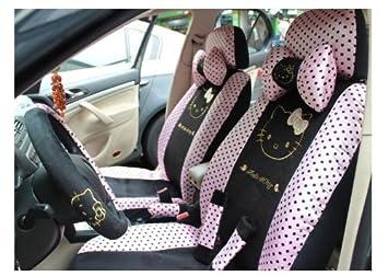 Amazon.com: 18pc-pink diseño de Hello Kitty Asiento de coche ...