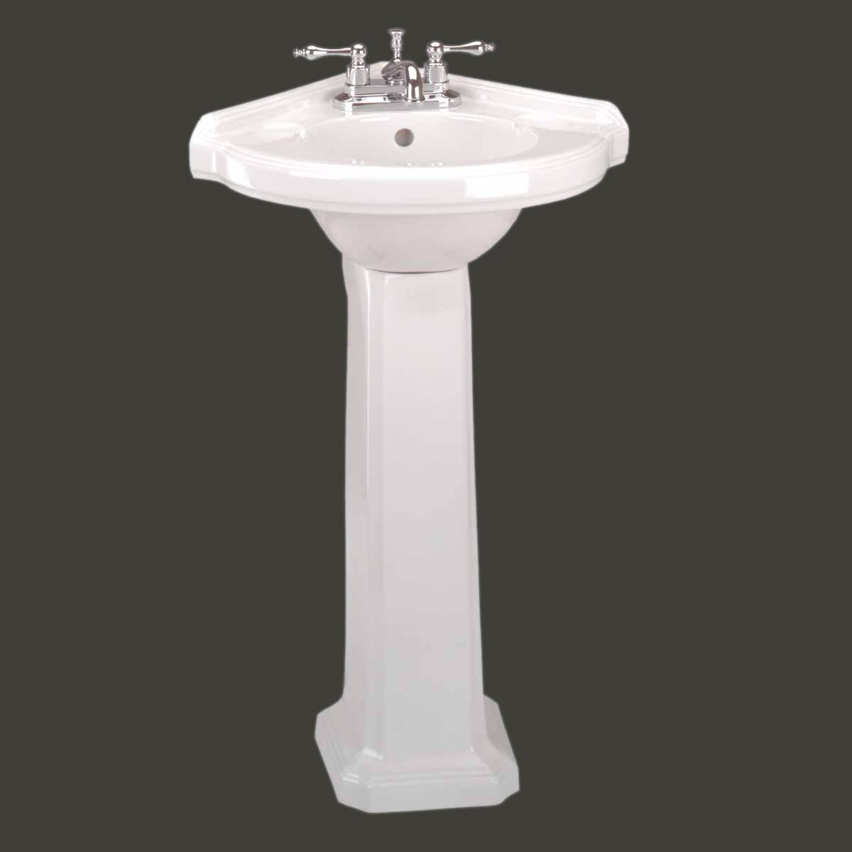 Corner Pedestal Sink White Vitreous China 32 3 4 In H Manufacturer S 1 Year Guarantee You Will Love This Sink Or Your Money Back Any Time Within 1 Year
