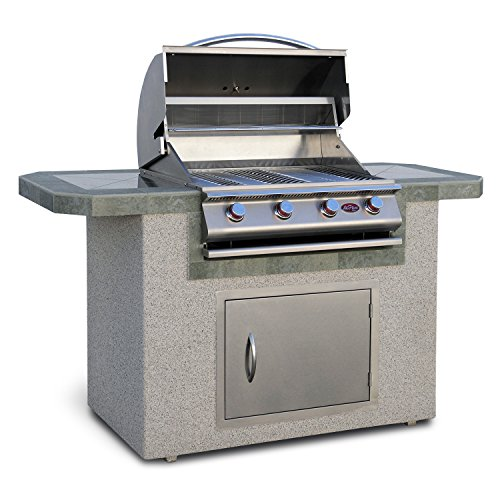 27 Inch Built In Grill - Cal Flame LBK-601-A Outdoor Kitchen Island with 4-Burner Built in Grill 27