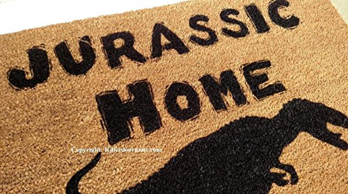 Jurassic Home Custom Handpainted Fandom Welcome Doormat by Killer Doormats - Large