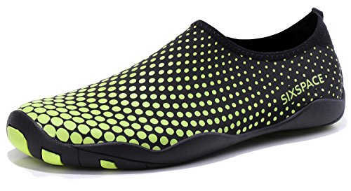 Sixspace Men Women Water Shoes Quick-Dry Durable Sole Barefoot Water Skin Shoes for Beach Pool Surf Yoga Exercise Fluorescent Green-06