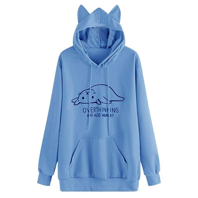 Jaminy Damen Sweatshirt Kapuzenjacke Hooded Sweater Sweat Shirt Jacke Cute Cat Pullover Pulli Hooded Sweatshirts Tops S 2XL