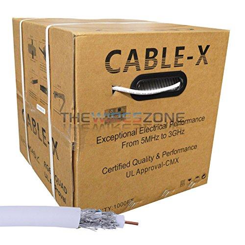 18 AWG RG6/U High Grade UL CMX CATV Quad Shield 1000' Feet White Coaxial Cable