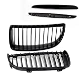 4pc Front Kidney Grille Grill For BMW E90 3-Series Sedan Wagon 05-08 Gloss Black